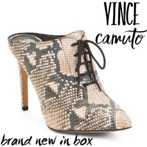 🆕NWT Vince Camuto Lace Up Vamp Snakeskin Mules